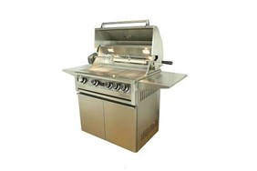 """Allegra 32"""" Stainless Steel Grill On Cart With Rotisserie - AHT-AL32FR-T"""
