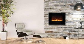 "Amantii WM-FM  26"" Wall Mount / Flush Mount Electric Fireplace WM-FM-26-3623-BG"