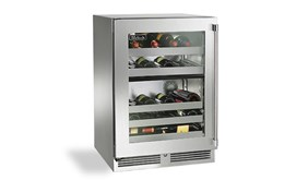 "Perlick 24"" Signature Series  Outdoor  Dual- Zone Wine Reserve With Stainless Steel Glass Door Hinge Left - HP24DO-3-3L"