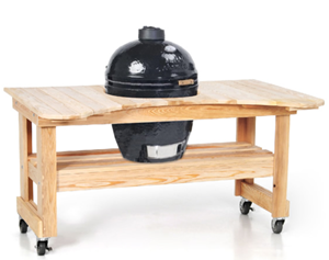 Primo Oval KAMADO Ceramic Smoker Grill #771 ON CYPRESS TABLE #601  (PRM771 + PRM601)