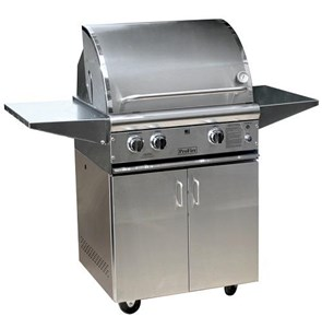 ProFire Professional Deluxe Series 27-Inch Freestanding Infrared Hybrid  Gas Grill With Rotisserie - PFDLX27RIH + PF27SSCBP