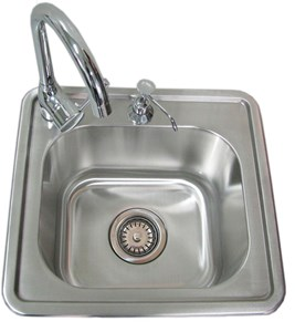 SUNSTONE 17 INCH Single Drop In Sink W/ Hot/Cold water Faucet #A-SS17
