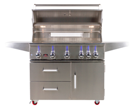 "BONFIRE 5 BURNER 42"" GRILL WITH DOUBLE DRAWERS WITH SINGLE DOOR CART BASE"