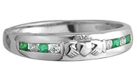 S2620 - Diamond and Emerald Claddagh