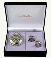 Mechanical trinity pocket watch and cufflinks set