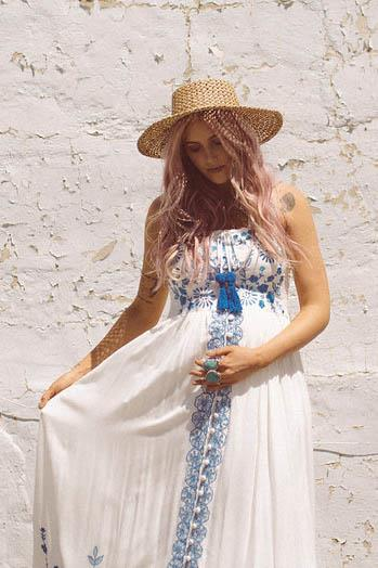 Quot Blue Lagoon Quot Women S Crochet And Embroidered Maxi Dress