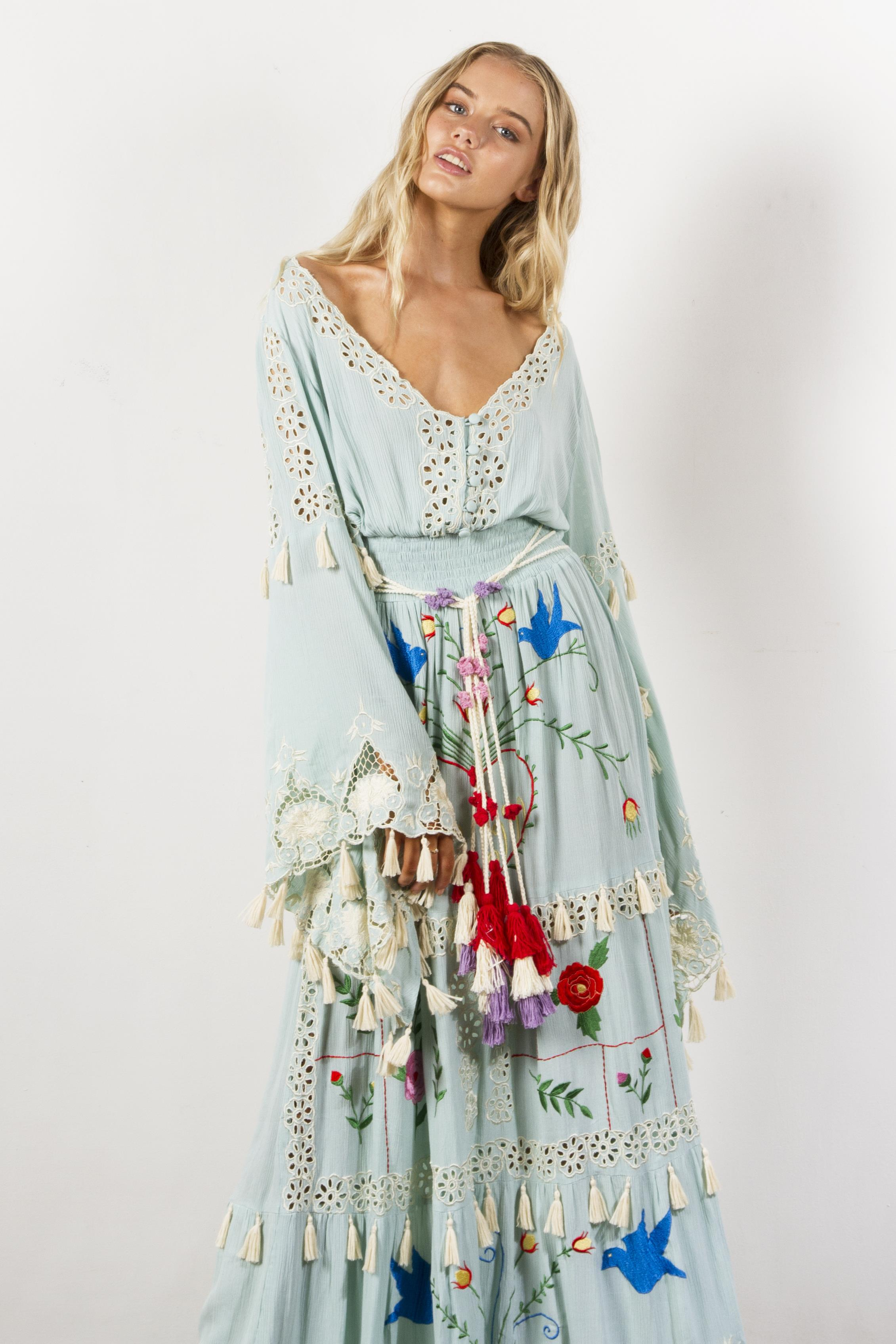 Quot Little Bear Quot Hand Embroidered Maxi Dress In Pastel Jade