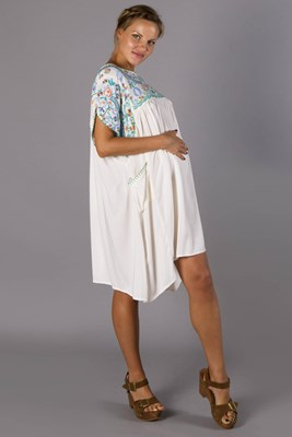 """Happy Folk"" embroidered maternity smock dress - emerald tones"
