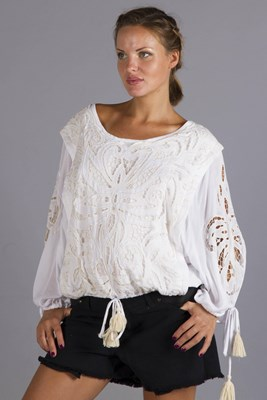 """Almost Famous"" Embroidered Nursing Top - Cream"