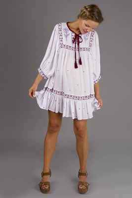 """Happy Little Tulip"" embroidered maternity peasant mini dress"