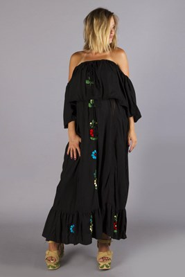"""Bermain off-the-shoulder"" embroidered maternity and nursing maxi dress - Black"