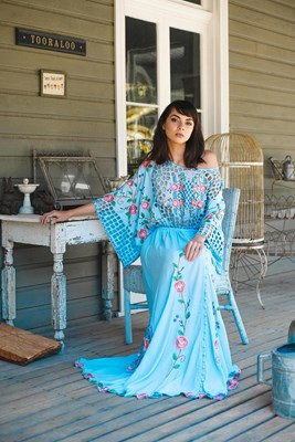 """""""Is There Love On Mars?"""" Women's reversible gown - Chambray with multi"""