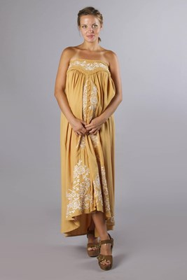 """Abbey Road"" maternity maxi skirt / strapless dress - Gold with floral embroidery"