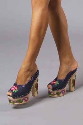 """Georgies Girl Clogs"" hand embroidered and wood carved platform clogs"
