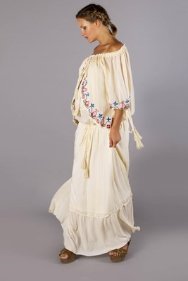 """Babylon"" maternity and nursing peasant maxi dress with embroidery - light peach"
