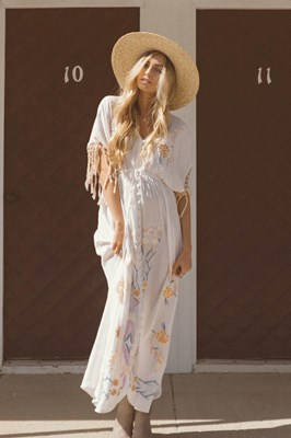 """Bojangles"" Button-through maternity duster/maxi dress/kaftan - Gold & Lilac"