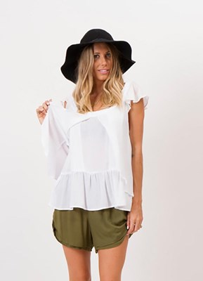 """That Was Then"" butterfly front nursing top - White"