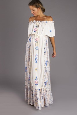 """Seeker Lover Keeper Nursing Dress"" Embroidered Nursing Maxi Dress - Floral"