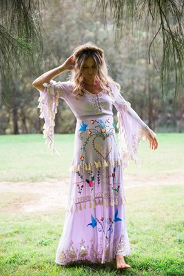 """Little Bear"" Hand embroidered maxi dress in lavender"