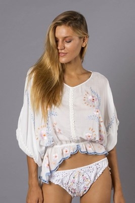 """First Bird Peasant Top"" Women's embroidered peasant top - off white"