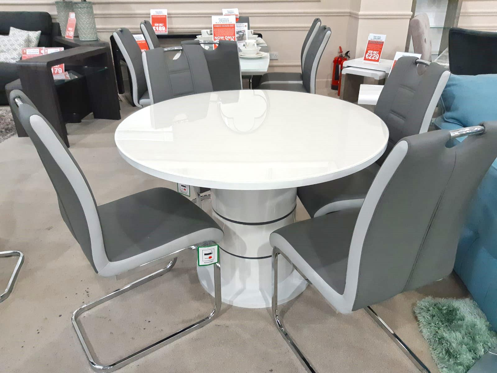 Rimini White High Gloss Dining Set Dublin Ireland Furniture Store Rightstyle