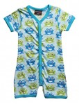 ON SALE Maxomorra Organic s/s rompersuit - Blue Frog