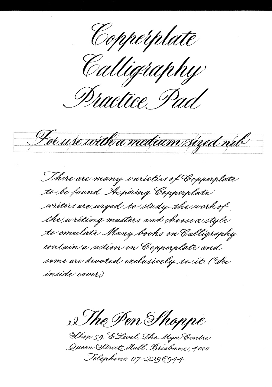 Copperplate Calligraphy Practice Pad Pens De Luxe Online Shop