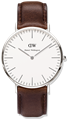 DANIEL WELLINGTON®<br/>Classic Bristol 40mm Silver Brown Leather Strap