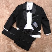 Elegant Boy Black Suit/Tuxedo - Formal/Wedding 6-Pcs Suit - Baby Boy Clothes