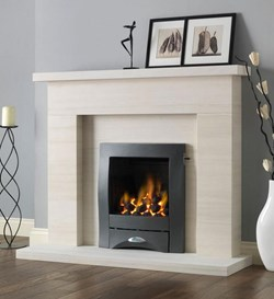 PureGlow Drayton Limestone Fireplace Package with Gas Fire