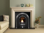 PureGlow Wenlock Agean Limestone Fireplace Package with Cast & Fire
