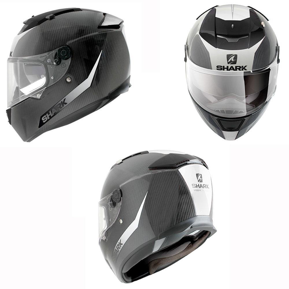 shark speed r series 2 ece helmet carbon skin white black online motorcycle accessories. Black Bedroom Furniture Sets. Home Design Ideas
