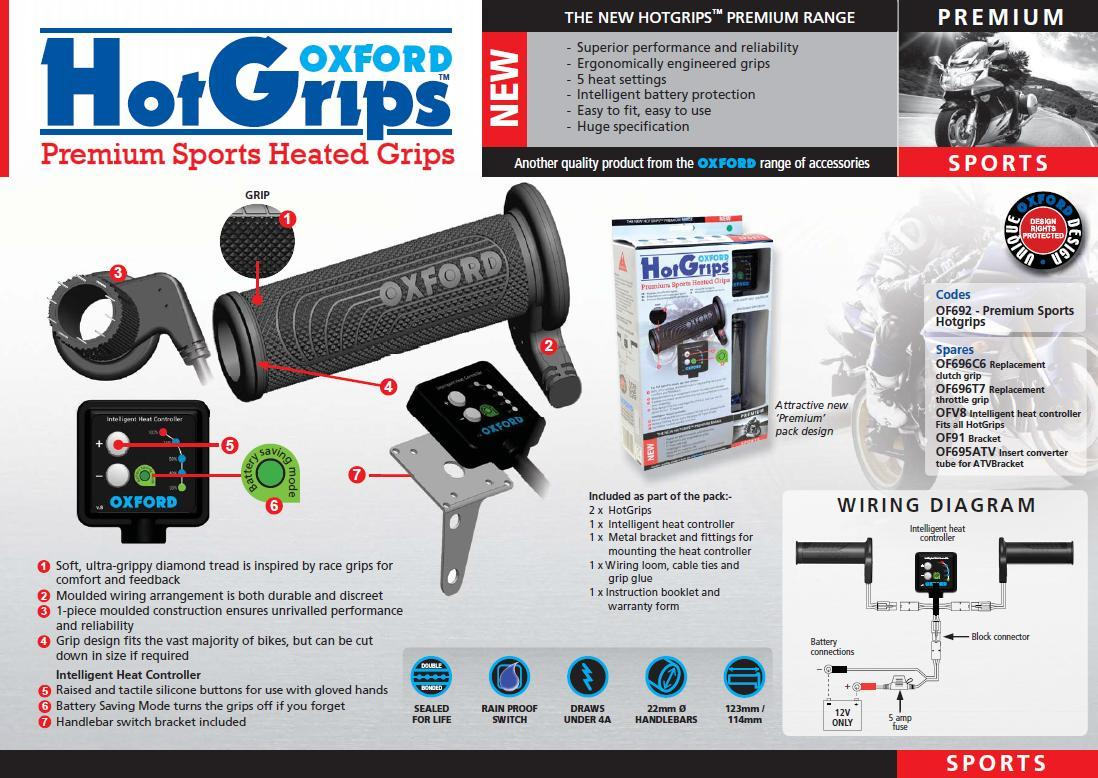Oxford Hotgrips Heated Grips Sports Suit 22mm 7 8