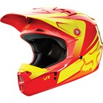 (CLEARANCE SALE) - FOX 2015 YOUTH V1 IMPERIAL MOTOCROSS HELMET - RED/YELLOW