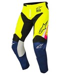 Alpinestars 2018 Youth Racer Supermatic Pants - White/Dark Blue/Yellow Fluo