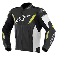(CLEARANCE SALE) - Alpinestars GP R Non-Perforated Leather Jacket - Black/White/Fluro Yellow