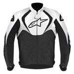 (CLEARANCE SALE) - Alpinestars Jaws Leather Jacket - Black/White  (non-perforated)