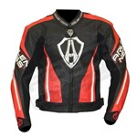 (CLEARANCE SALE) - Arlen Ness Shield CE Leather Jacket - Black/Red
