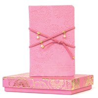 Suede Pearl Wrap Journal - Vintage Pink