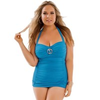 Turquoise One Piece Pinup Swimdress Plus Size Bathers