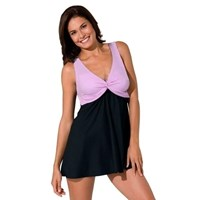 Pink Twisted Bodice Plus Size Black Swimdress