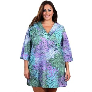 Monet Lilac and Mint Print Plus Size Cover Up Tunic Top