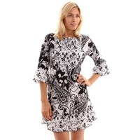 Orientique Black White Print Bohemian Cover Up Tunic Top