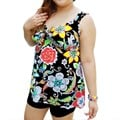 Black Vibrant Print Plus Size Bathers 2 Piece Shortini Set