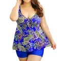 Blue Paisley Plus Size Swimwear Two Piece Shortini Set