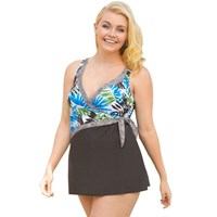 Brown Turquoise Wrap Tropical Plus Size Swimdress