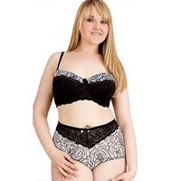 Plus Size Underwire Bra Panty Set Rose Print Mesh Lace
