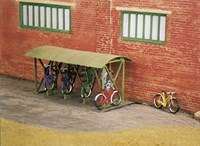 Corragted Roof Bicycle Shed With Racks