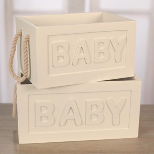 Set of Two Baby Storage Boxes
