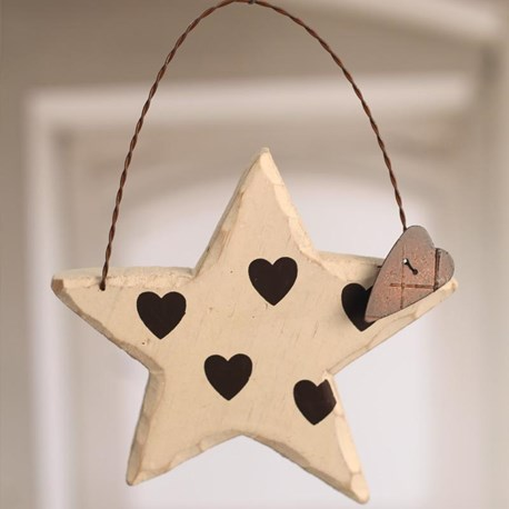 Carved Wooden Star with Hearts